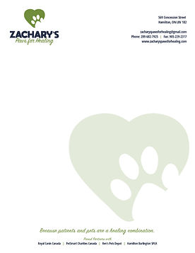 Letterhead - Zachary's Paws for Healing