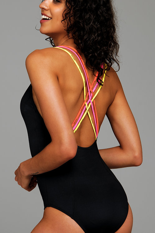 'MULTI STRAPS' ONEPIECE SWIMSUIT