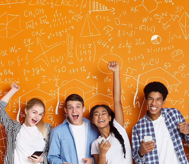 Successful education concept. Students o