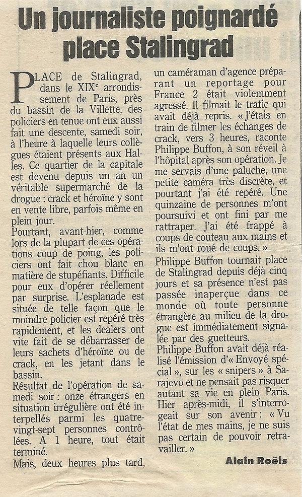 Communiqué de presse aprés l'agréssion de Philippe Buffon