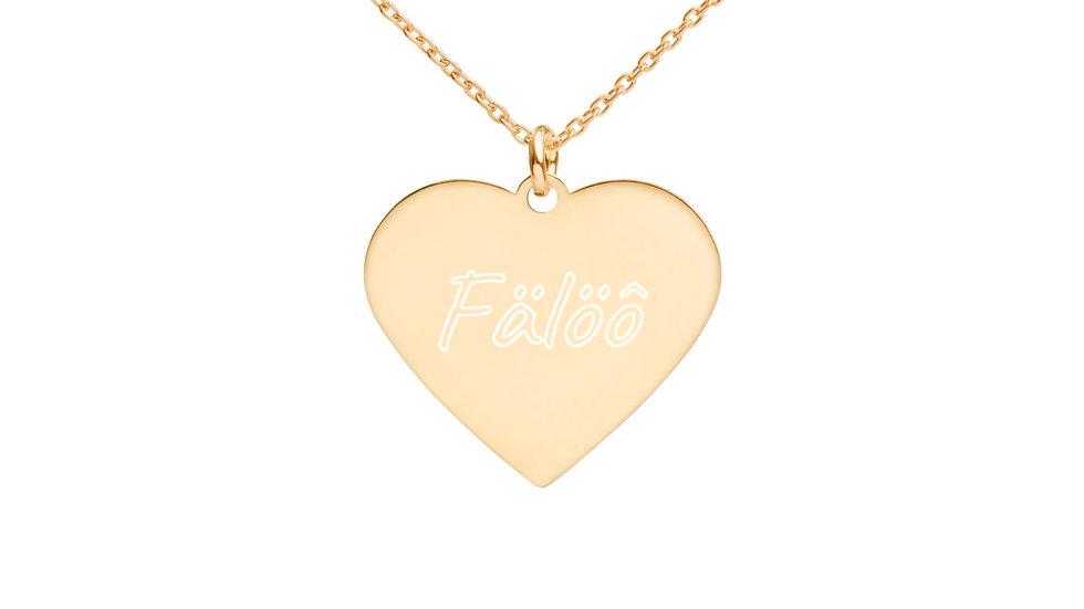 Fälöô Engraved Silver Heart Necklace