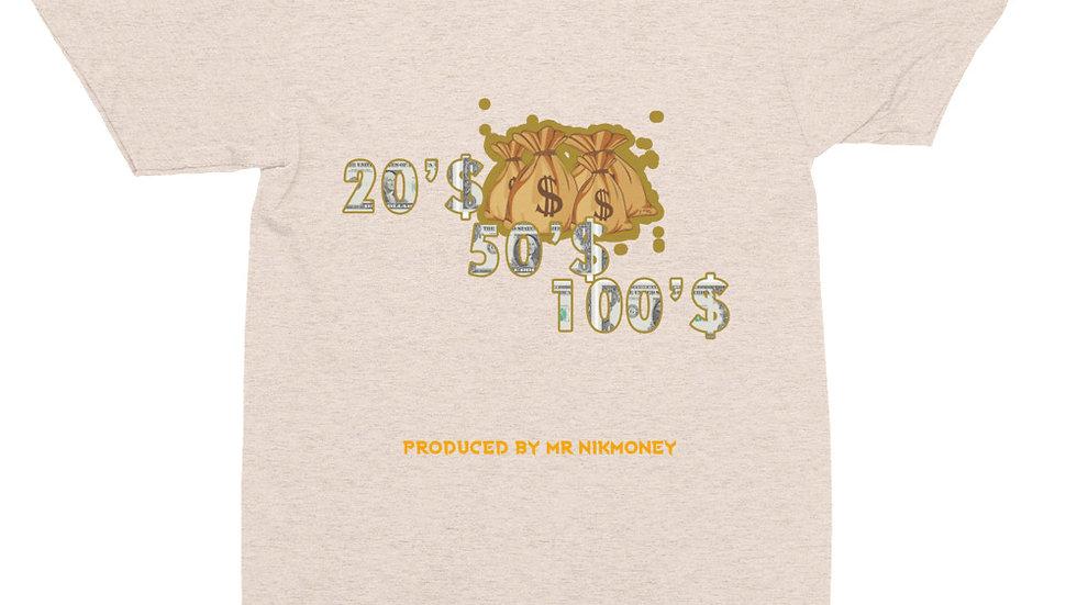 $20's, $50's, $100's (Prod. By @mrnikmoney) Unisex Tri-Blend Track Shirt