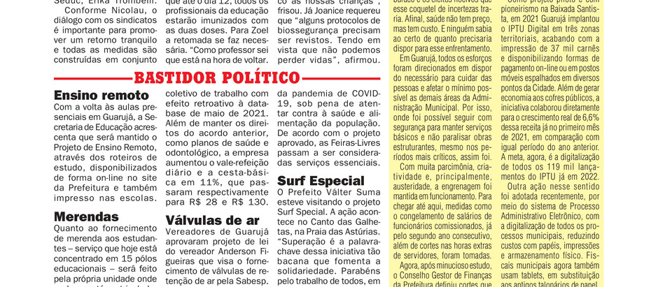 JORNAL DA CIDADE - BASTIDOR POLÍTICO