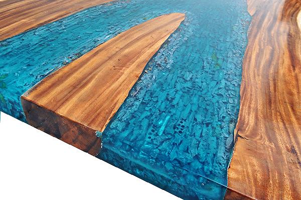 Suar Slab U0026 Resin Table Top With Stainless Steel Legs