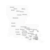 Louisiana state shape with main street locations referenced