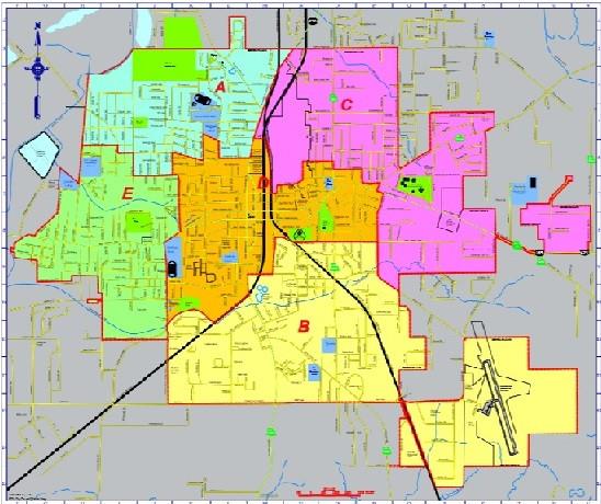 City of Bastrop City Council District Map