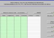 Tabla para el cálculo de pérdidas de presión en tuberías