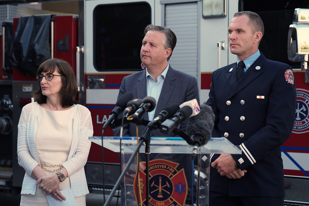 Photo above: Chief Medical Health Officer Dr. Patricia Daly Vancouver Coastal Health, Mayor Kennedy Stewart and Vancouver Fire Rescue Services (VFRS) Captain Jonathan Gormick