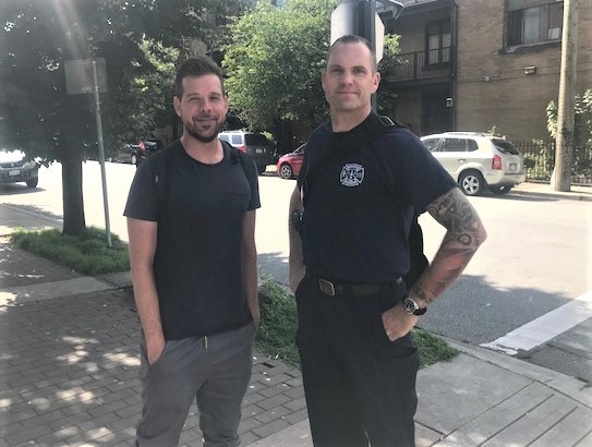 Photo: Vancouver Coastal Health Outreach Worker Chris Dickinson and Vancouver Fire Rescue Services (VFRS) Captain Jonathan Gormick