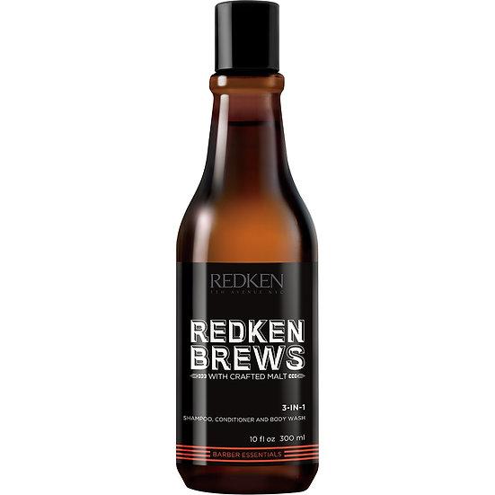 Redken Brews 3 in 1 Shampoo, Conditioner, Body Wash