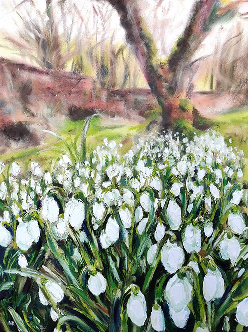 'Prinknash Abbey Snowdrops' Original Painting