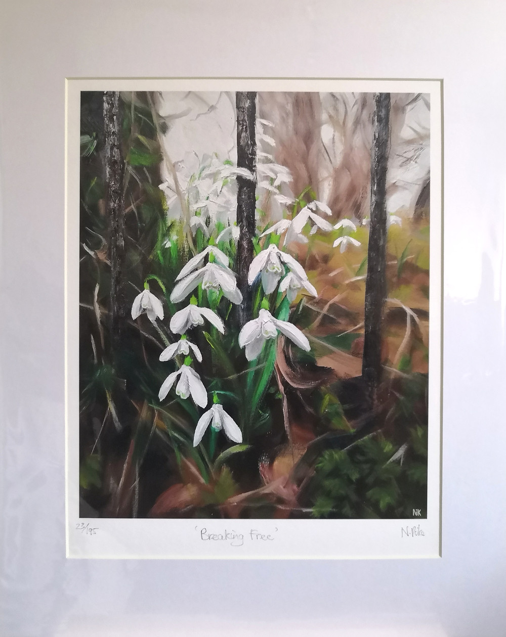 Breaking Free snowdrop limited edition art print