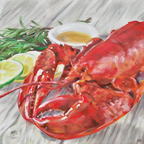'Lobster, lime & rosemary' Original Painting