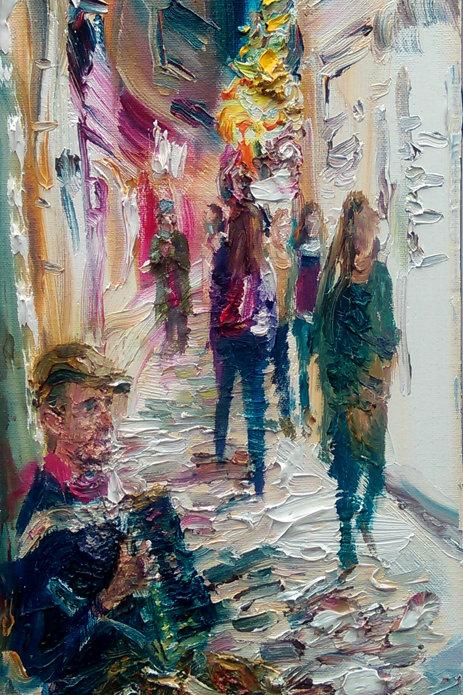 'L'Accordeoniste' Original Painting