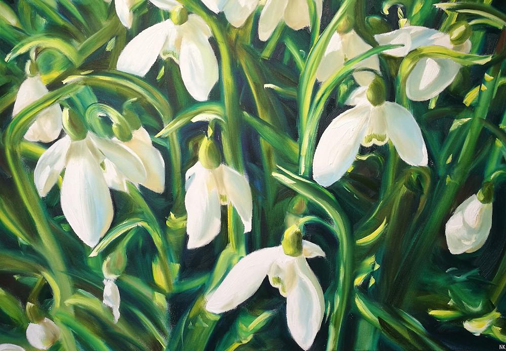 Galnthus Elwesii snowdrop oil painting
