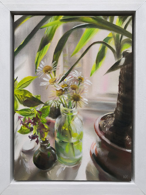 'Still Life with Daisies' Original Oil Painting
