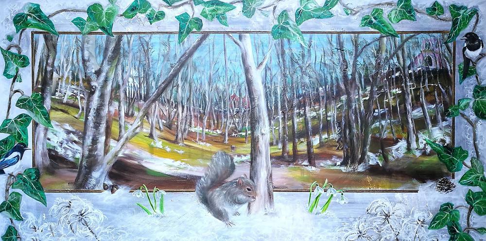 Snowdrop Wonderland Rococo Garden painting