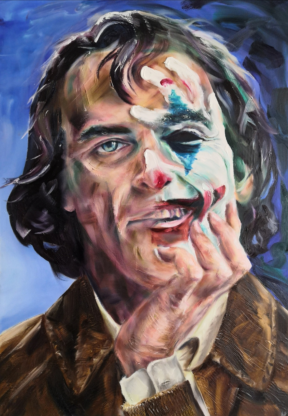 This artwork made is my interpretation of Joaquin Phoenix becoming the Joker in the award winning film, recently released in Britain and might well earn Joaquin his first Oscar...? The painting depicts shy, awkward Arthur Fleck getting into character as he applies make-up with his hand... or is he uncovering his real self by stripping the everyday face off?