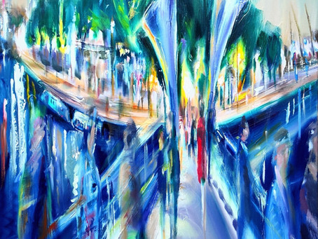 'Square Panoramas' New European cityscape oil paintings by Nick Pike at Wilks Restaurant, Br