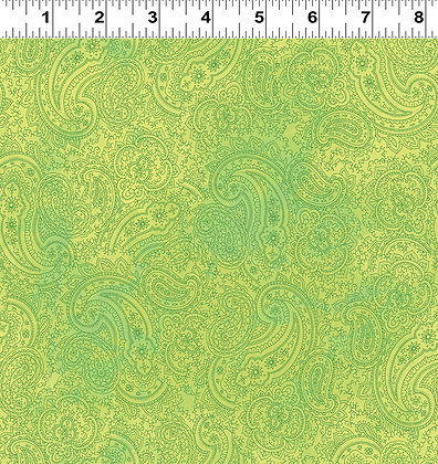 Clothworks Good Vibes Paisley - Dark Lime