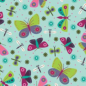 Summer Sampler Butterflies - Light Teal