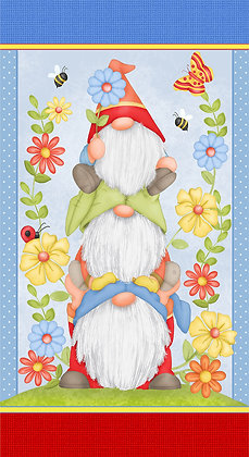 Henry Glass Gnome Is Where Your Garden Grows Panel - 24 inch
