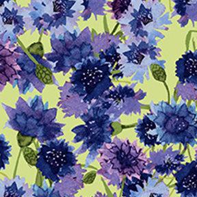 Clothworks Sunny Fields Bachelor Buttons - Multi