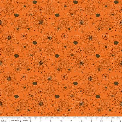 Riley Blake Give Thanks Flowers - Orange