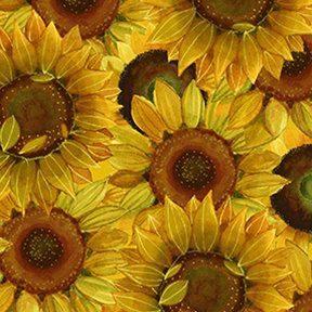 Clothworks Sunny Fields Packed Sunflowers - Dark Gold