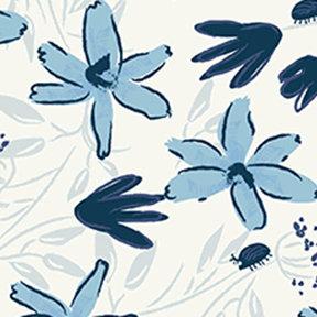 Clothworks Blue Goose Floral - White