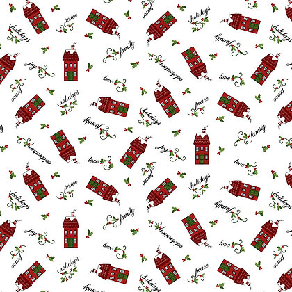Henry Glass Holly Hill Christmas Tossed Houses - White