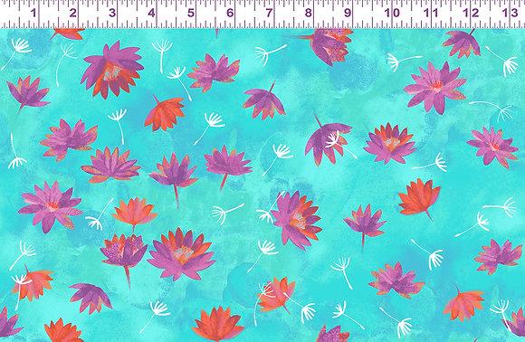 Clothworks Good Vibes Water Lilies - Aqua