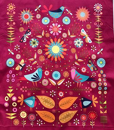 Clothworks Summer Sampler 13 Fat Quarter Bundle with Panel - Wine