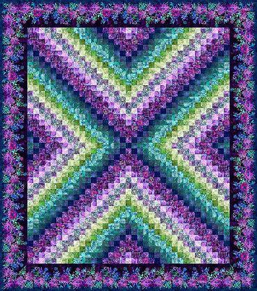 In The Beginning Floragraphix X Trip Around the World Quilt Kit - Purple
