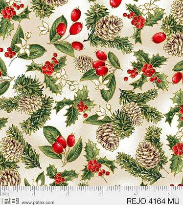 P&B Textiles Rejoice Pinecones & Berries - White