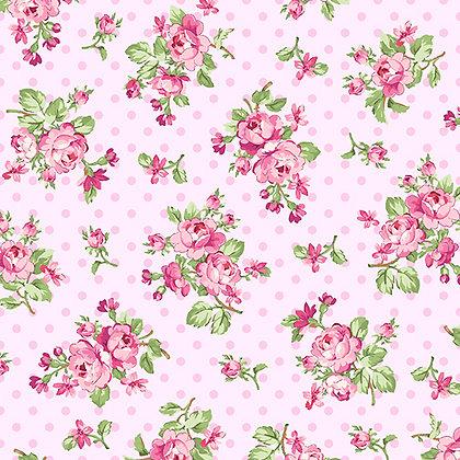 Benartex  Rose Whispers Rose Bouquet - Pink