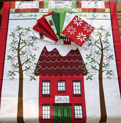Henry Glass Holly Hill Christmas 8 Piece Fat Quarter Bundle with Panel