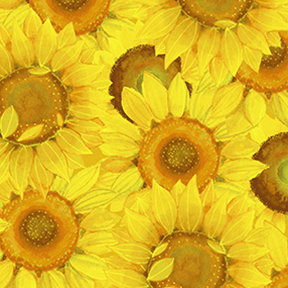 Clothworks Sunny Fields Packed Sunflowers - Yellow