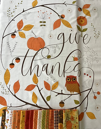 Riley Blake Give Thanks Fat Quarter Bundle with Panel