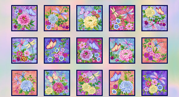 Henry Glass Gossamer Garden Garden Blocks Panel - 24 inch