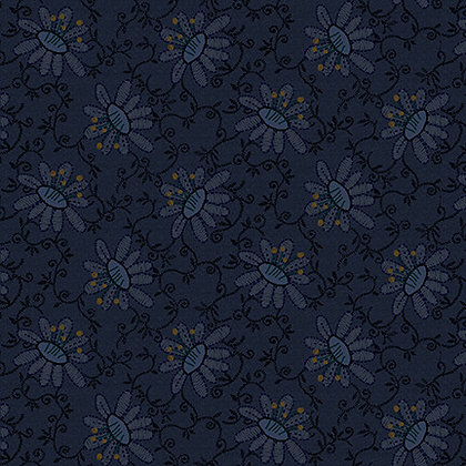 Henry Glass Scrap Happy Lacey Design -Navy
