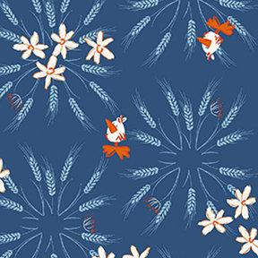 Clothworks Blue Goose Wheat - Denim