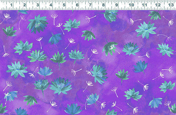 Clothworks Good Vibes Water Lilies - Purple