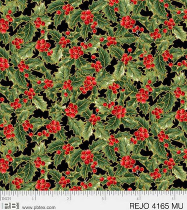 P&B Textiles Rejoice Holly Leaves - Black