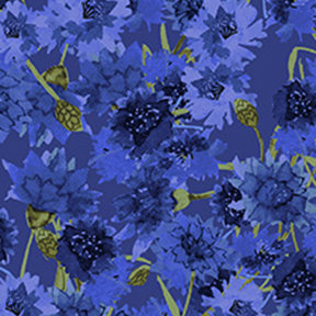 Clothworks Sunny Fields Bachelor Buttons - Royal Blue