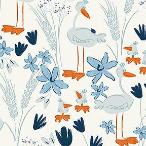 Clothworks Blue Goose Geese - White