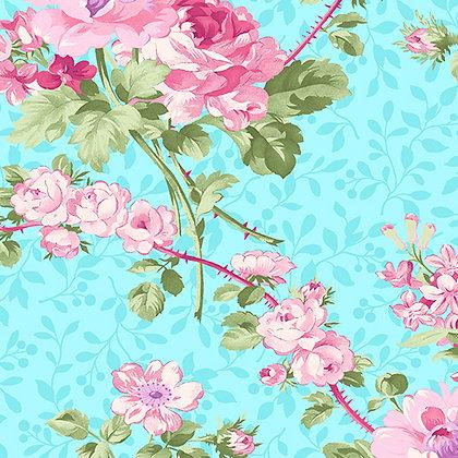 Benartex  Rose Whispers Rose Garden - Aqua