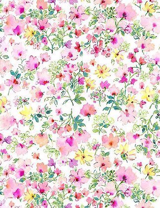 Timeless Treasures Spring Song Watercolor Pink Spring Florals - White