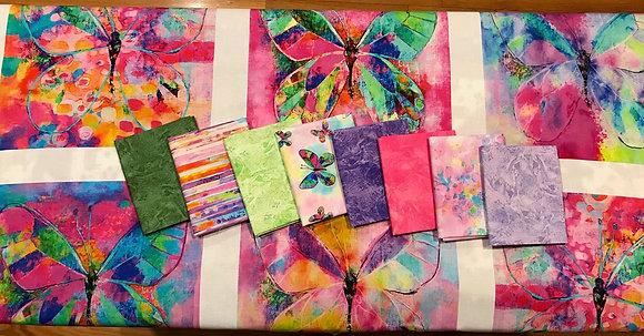 P&B Textiles Butterfly Dreams 8 Piece Fat Quarter Bundle with Panel - Purple