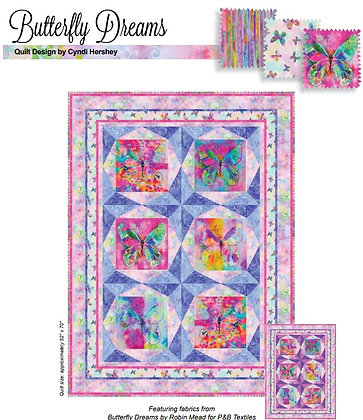 P&B Textiles Butterfly Dream Panel Quilt Kit - Blue